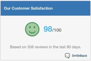 Our customer satisfaction: 98/100 based on 356 reviews