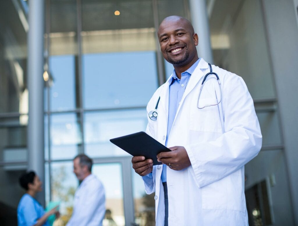 African-American doctor smiling