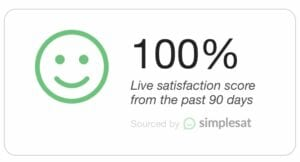 100% live satisfaction score from the past 90 days - simplesat