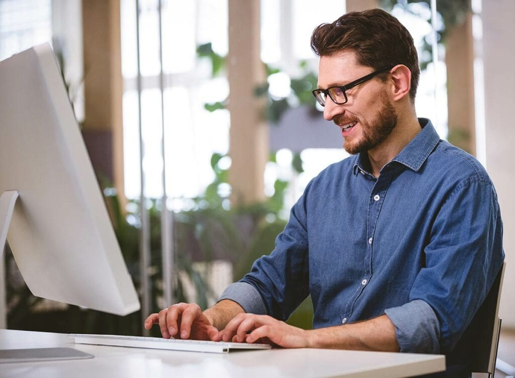 Person working on a computer